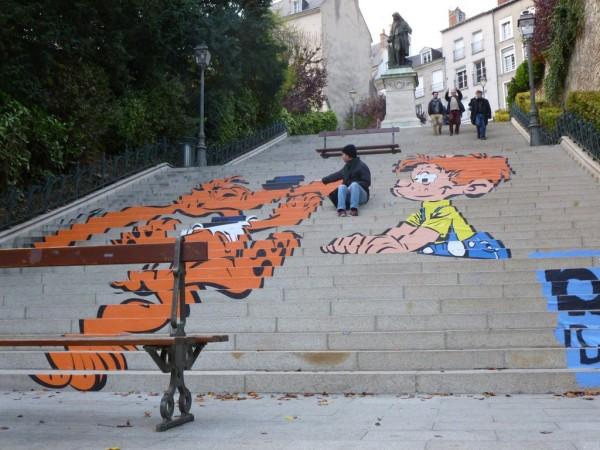 Boule et Bill sur les escaliers Denis Papin